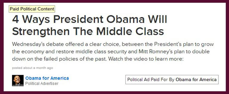 This screen grab from BuzzFeed shows a political ad that is presented alongside actual news stories.