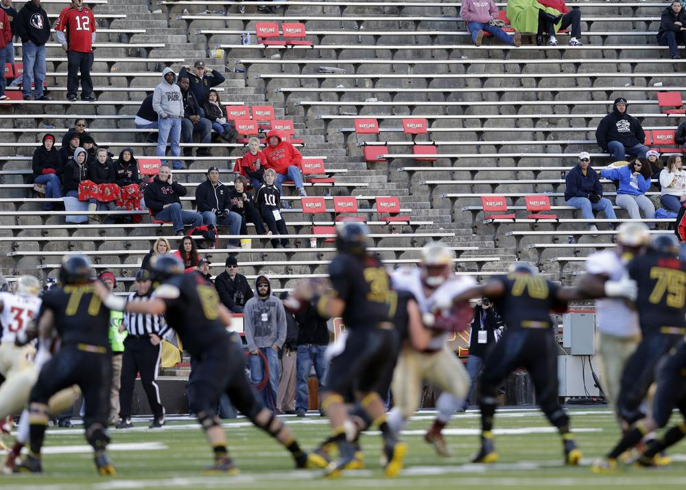 Maryland hopes a move to the Big Ten will help draw more fans than the sparse attendance for the Florida State game on Nov. 17, 2012. (Patrick Semansky/AP)