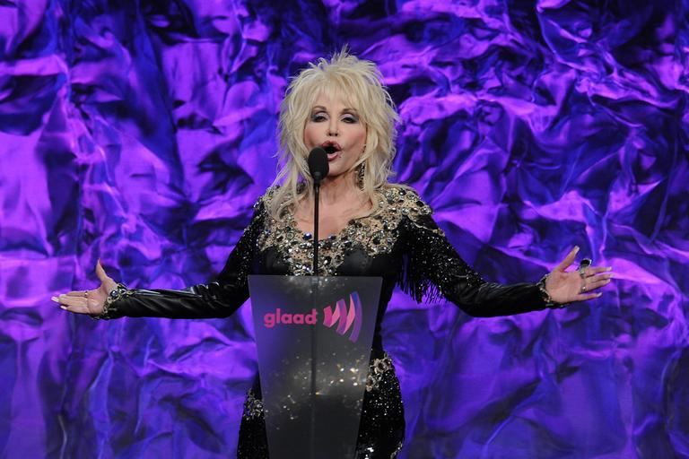 Dolly Parton speaks at The 22nd Annual Glaad Media Awards on Sunday April 10, 2011, at at The Westin Bonaventure in Los Angeles, Calif. (AP)