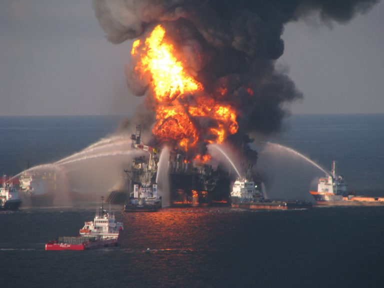 In this April 21, 2010 image provided by the U.S. Coast Guard, fire boat response crews battle the blazing remnants of the off shore oil rig Deepwater Horizon. (US Coast Guard/AP)
