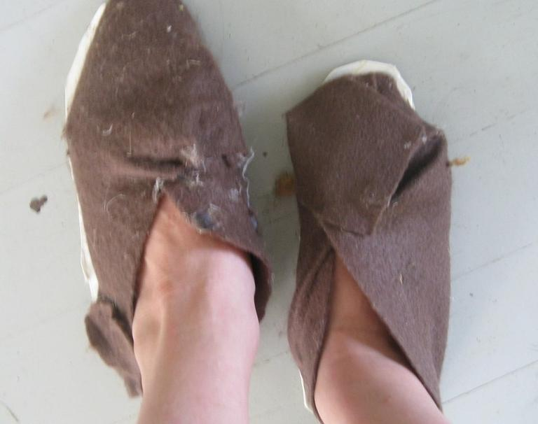 """Felt Shoes with Limeade Carton Soles"" by Grace McFadden. (diy.org)"