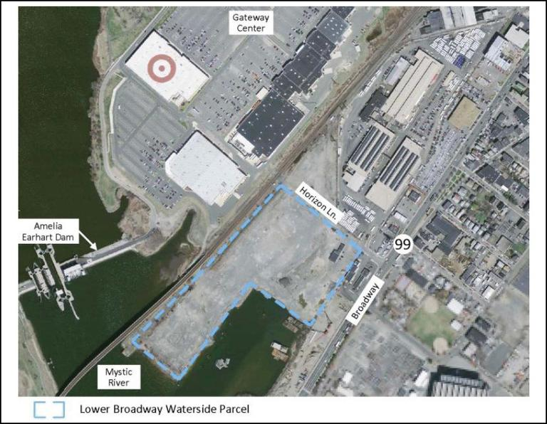 A map view of the proposed casino development site (in blue) (Courtesy Everett mayor's office)