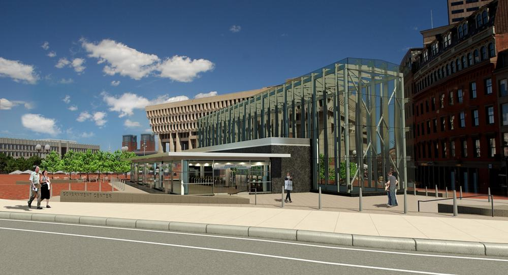 A rendering of the proposed Government Center station entrance. Construction will close the station to passengers for two years. (Courtesy of the MBTA)