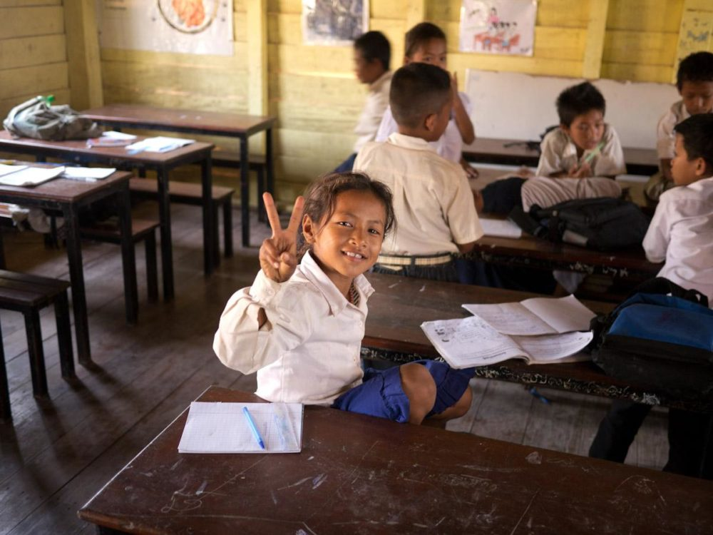 Cambodian school and student (Russ Wilcox)