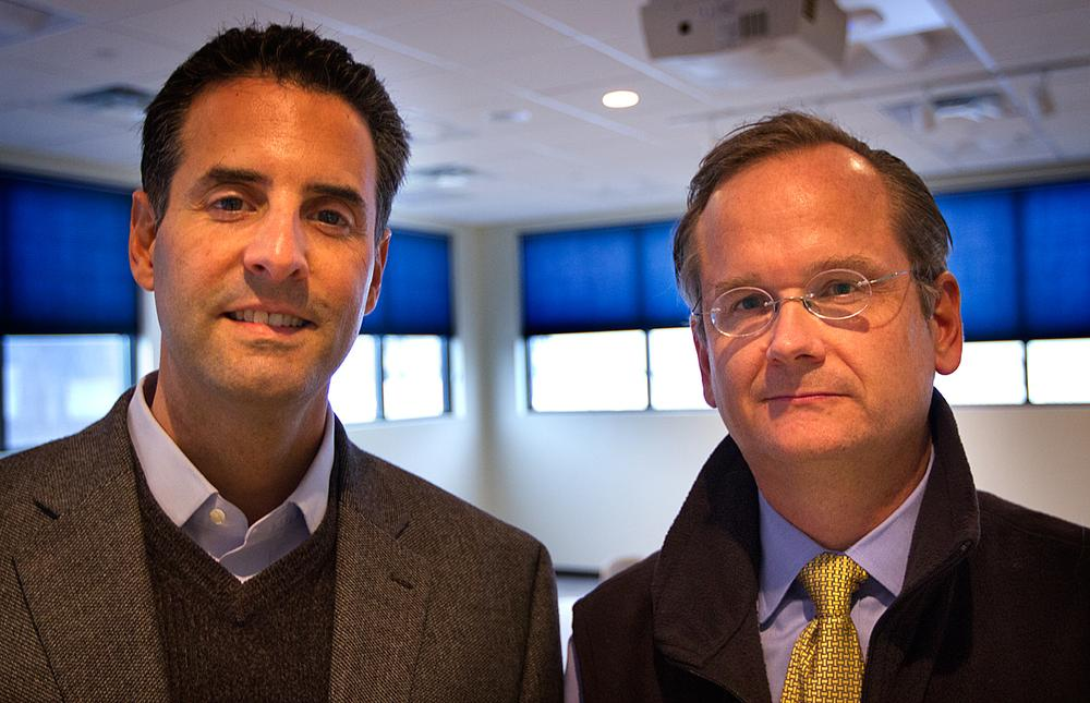Rep. John Sarbanes, left, and Lawrence Lessig at WBUR (Jesse Costa/WBUR)