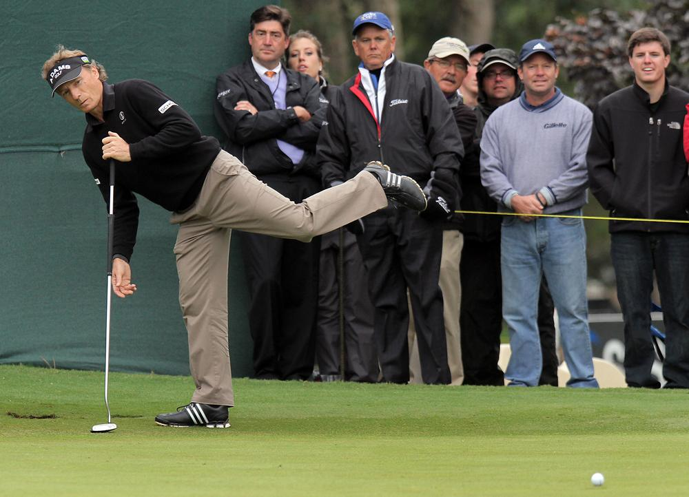 Bernhard Langer has been using a long putter for 15 years and was perplexed when the U.S. Golf Association announced a new rule that would ban players from anchoring the club to the body. (AP/Ted Richardson)