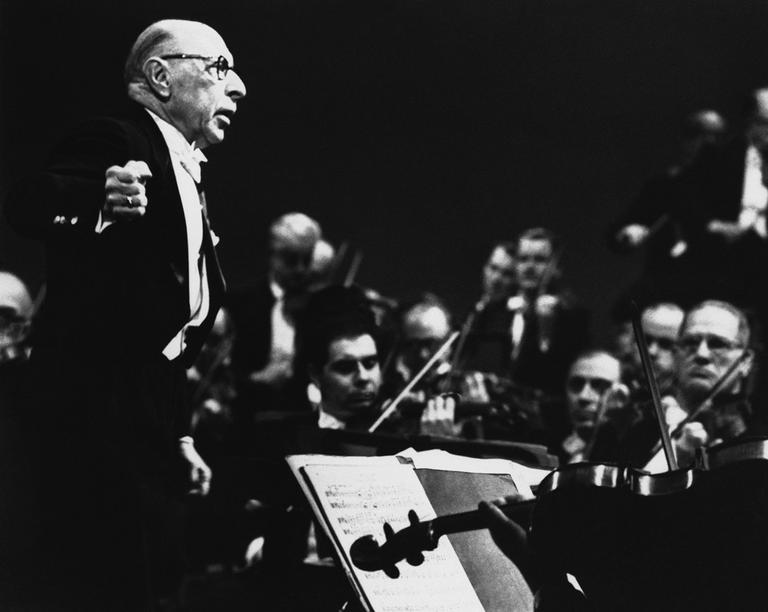 Composer Igor Stravinsky conducts the New York Philharmonic Orchestra in April 1962. (AP)