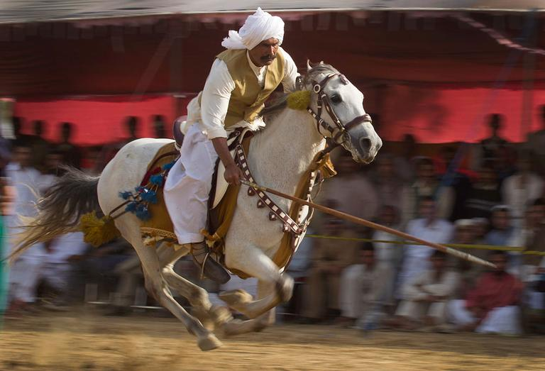 A Pakistani rides a horse at a fast pace towards a peg during a tent pegging event at a spring festival in Islamabad on Friday, March 16, 2012. (AP Photo/B.K. Bangash)