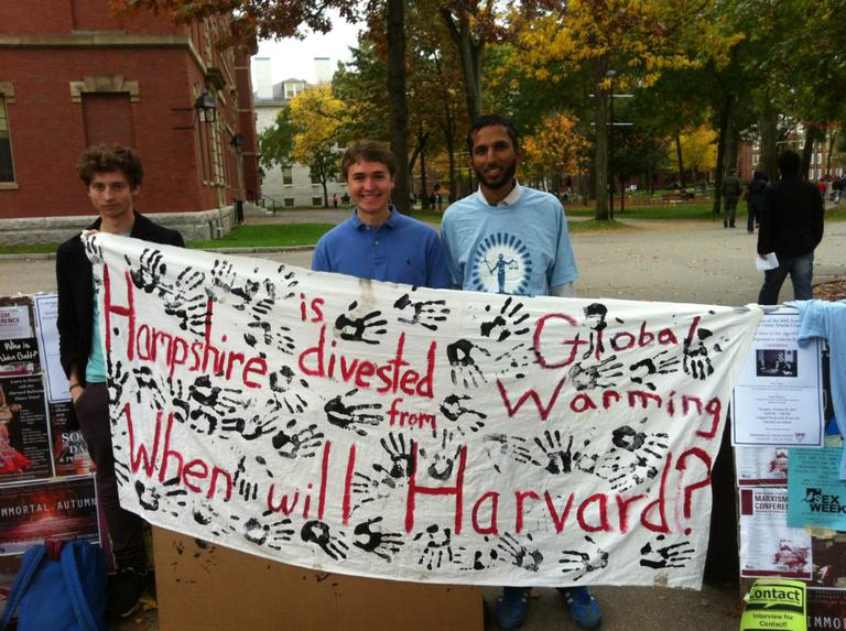 Members of Divest Harvard. From left to right: Oliver Kerr, Harold Eyster and Murtaza Nek. (Courtesy of Divest Harvard)