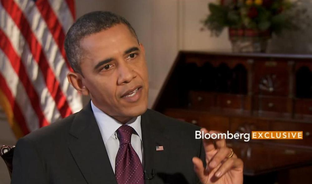 """President Obama told Bloomberg TV on Tuesday night that Republicans would have to agree to tax rate increases as part of any plan to avoid going over the """"fiscal cliff."""" (Screenshot from Bloomberg.com)"""