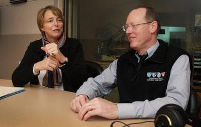 Ophelia Dahl and Dr. Paul Farmer ofPartners In Healthin the Here & Now studios. (Robin Lubbock/WBUR)