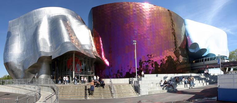 The EMP Museum at the Seattle Center, seen here in 2006, was designed by Frank Gehry. (Wikipedia)