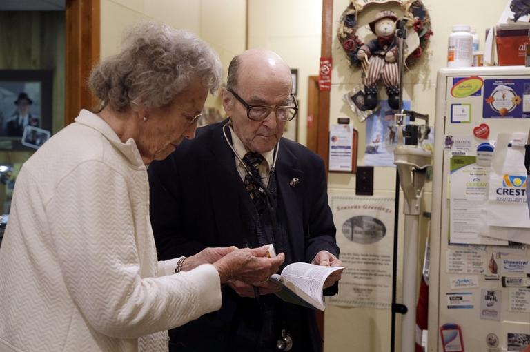 In an era of rising healthcare costs, 87-year-old Dr. Russell Dohner from Illinois only charges patients $5 per office visit and doesn't take insurance saying it isn't worth the bother. (AP/Jeff Roberson)