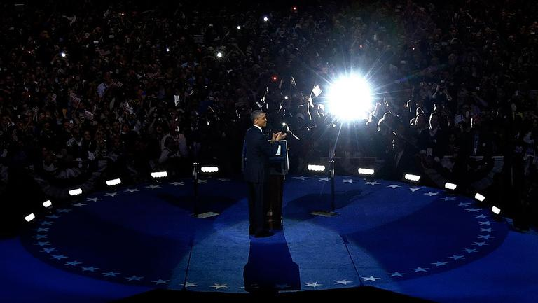 President Barack Obama speaks at his election night party Wednesday, Nov. 7, 2012, in Chicago. President Obama defeated Republican challenger former Massachusetts Gov. Mitt Romney. (AP Photo/M. Spencer Green)