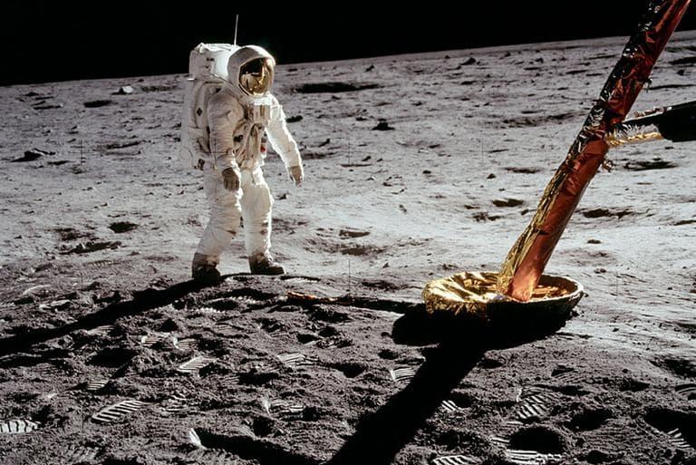 Astronaut Buzz Aldrin walking on the moon in 1969. (NASA)