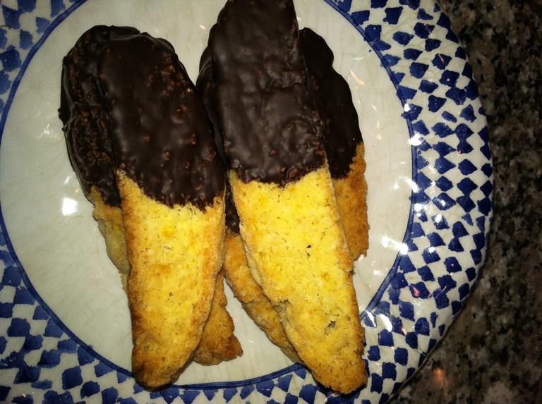 Chocolate-Dipped Pistachio-Orange Biscotti (Kathy Gunst/Here & Now)