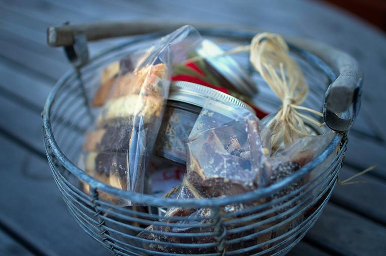 Kathy Gunst filled this basket with homemade holiday treats. (Jesse Costa/WBUR)