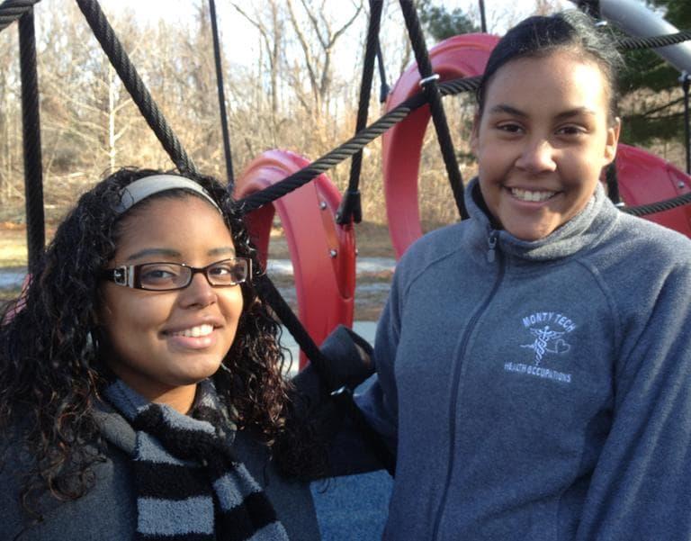 Ana Herrera, right, and Mari Perez-Cruz run events aimed at bringing more parents and kids to Fitchburg parks. (Martha Bebinger/WBUR)