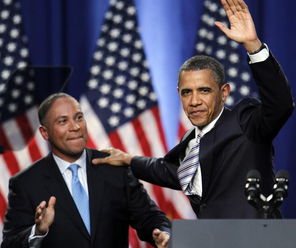 Gov. Patrick introduces President Barack Obama at a fundraising event in Boston, Weds., May 18, 2011. (Steven Senne/AP, File)