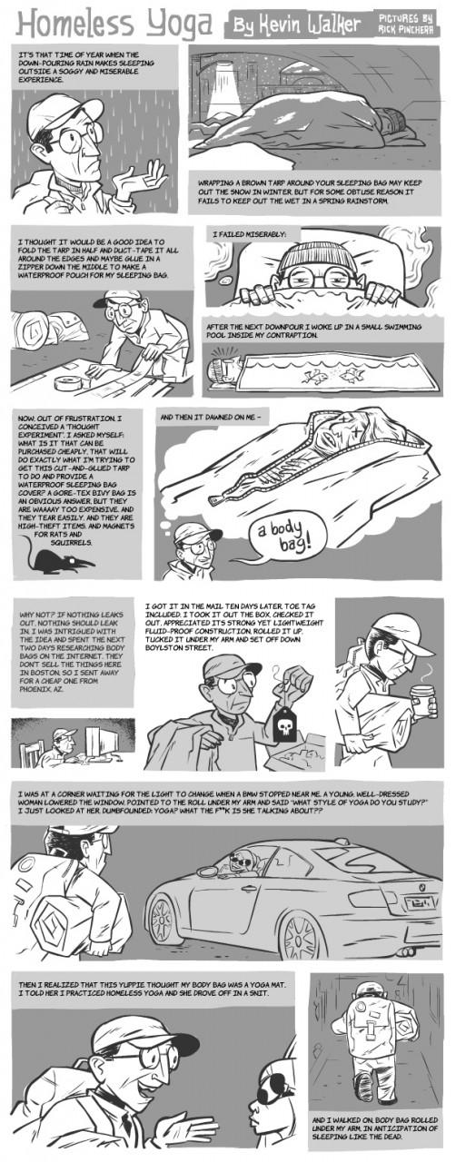 """""""Homeless Yoga"""" comic strip by Kevin Walker, with pictures by Rick Pincherr."""