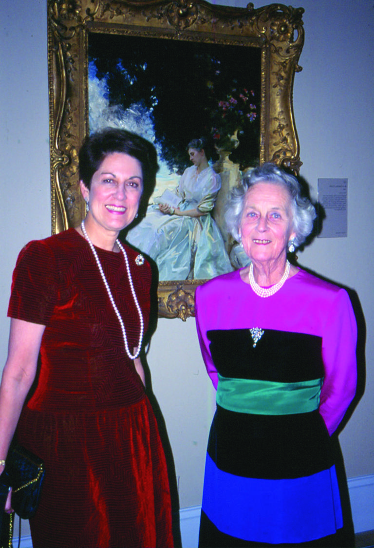 Rosemary Verey and the author in their Oscar de la Renta dresses at her eightieth birthday party at Tate Britain, 1998. (Charles Raskob Robinson)