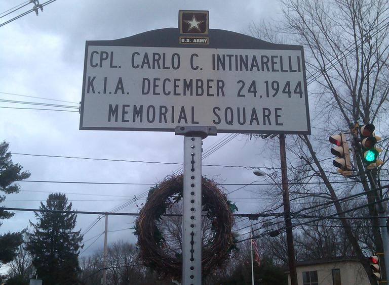 In 2007, the town of Natick dedicated a square in honor of Carlo Intinarelli, who was killed on Christmas Eve, Dec. 24, 1944 in Noirefontaine, Belgium. (Alex Ashlock/Here & Now)