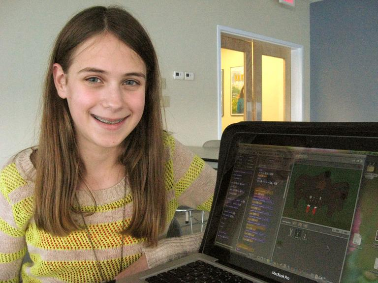 Maddy Petrovich, 14, of Wellesley, Mass. first started learning how to use the programming language Scratch when she was 10 years old. (Jesse Costa/WBUR)