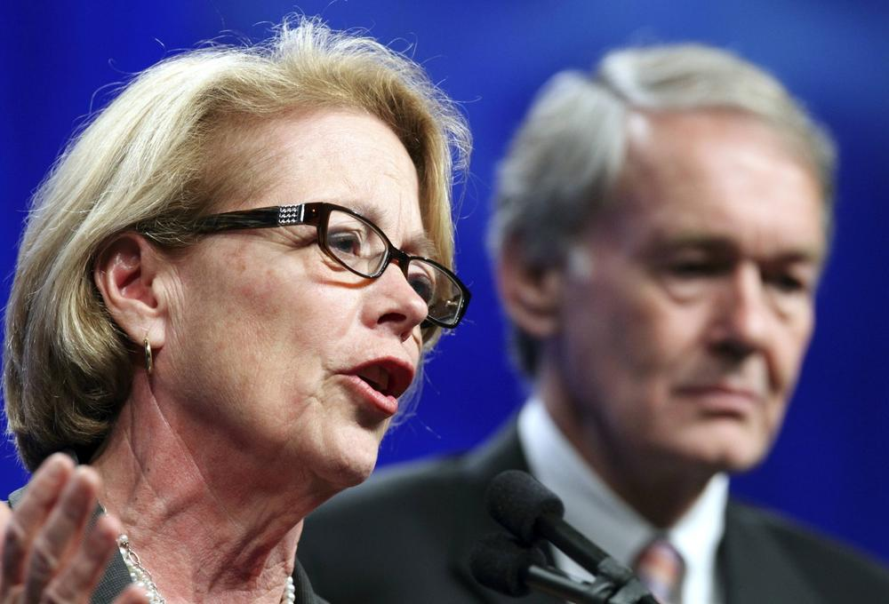 U.S. Rep. Niki Tsongas, D-Mass., left, speaks next to fellow Democrat U.S. Rep. Ed Markey at the Massachusetts Democratic State Convention in Springfield on Saturday, June 2, 2012. (Michael Dwyer/AP)