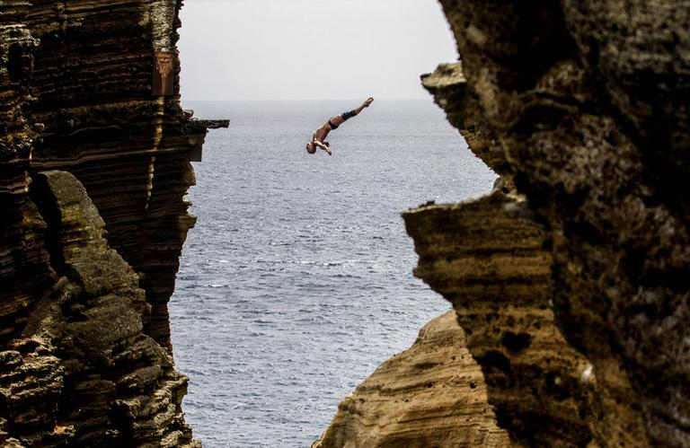 Cliff Diving in Portugal. (AP)