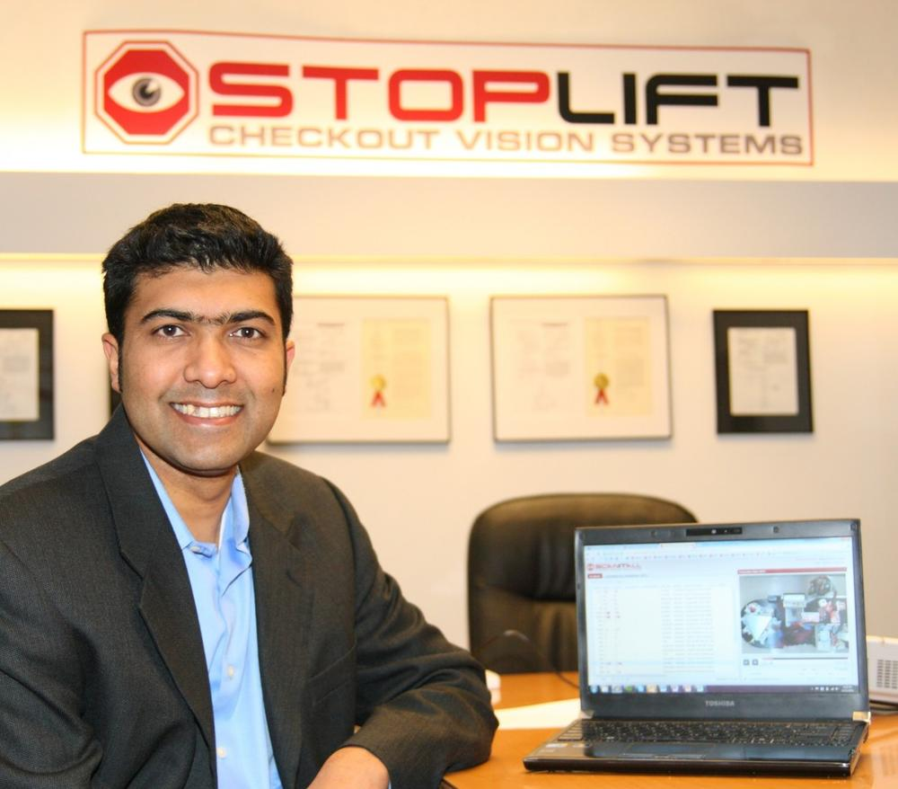 StopLift CEO Malay Kundu at his company's office in Cambridge, Mass. (Courtesy)
