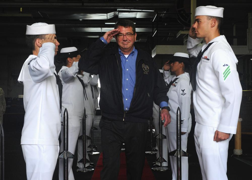Deputy Secretary of Defense Ashton Carter Departs USS Makin Island (U.S. Navy Photo by Chief Mass Communication Specialist John Lill/Flickr)