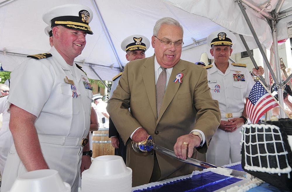 Boston Mayor Thomas Menino cuts cake during last year's Boston Harborfest, back when cake was likelier to be on the menu. (U.S. Navy/Wikimedia Commons)