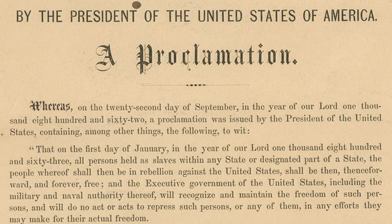 This undated photo shows a detail from the rare original copy of President Abraham Lincoln's Emancipation Proclamation. (Seth Kaller, Inc./AP)