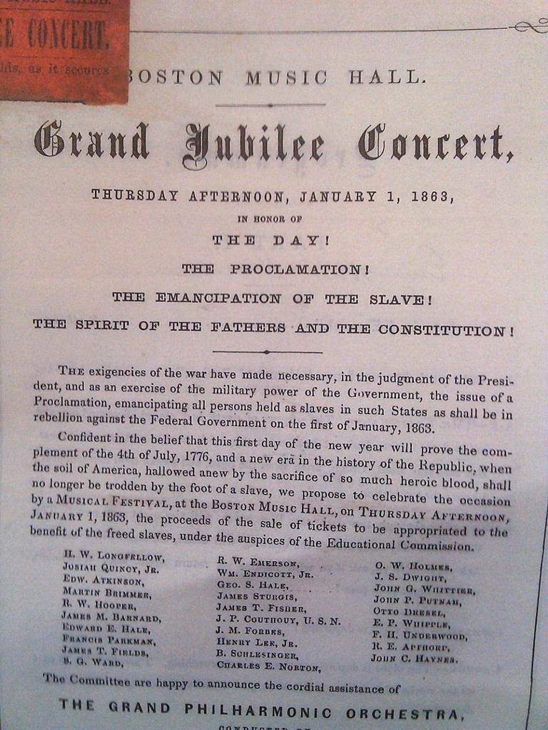 """The program for a """"Grand Jubilee Concert"""" held at the Boston Music Hall on January 1, 1863. (Massachusetts Historical Society)"""
