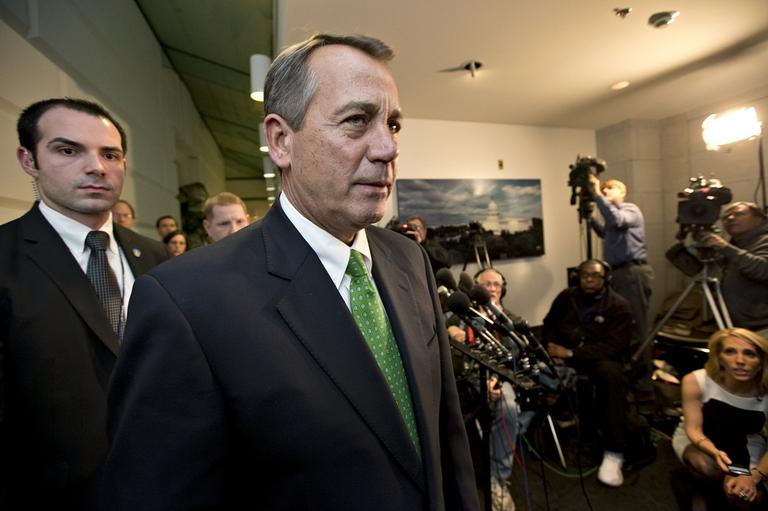 Speaker of the House John Boehner, R-Ohio, leaves a closed door meeting at the Capitol in Washington, Jan. 1, 2013.  (AP /J. Scott Applewhite)