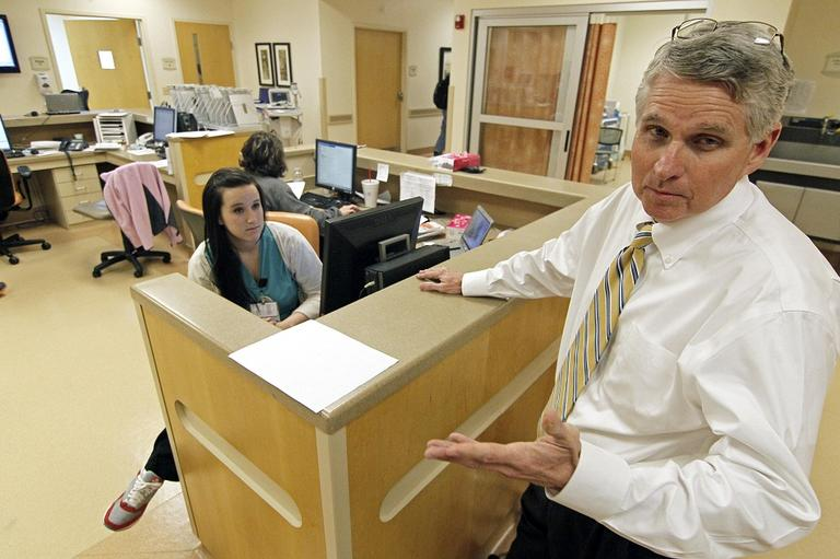 In this Oct. 11 photo, Alvin Hoover, CEO of King's Daughters Medical Center in Brookhaven, Miss., stands by the hospital's emergency room station. (Rogelio V. Solis/AP)