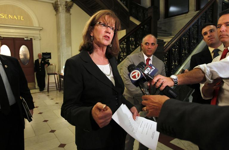 Massachusetts Senate President Therese Murray takes questions from reporters in 2011. (Steven Senne/AP)