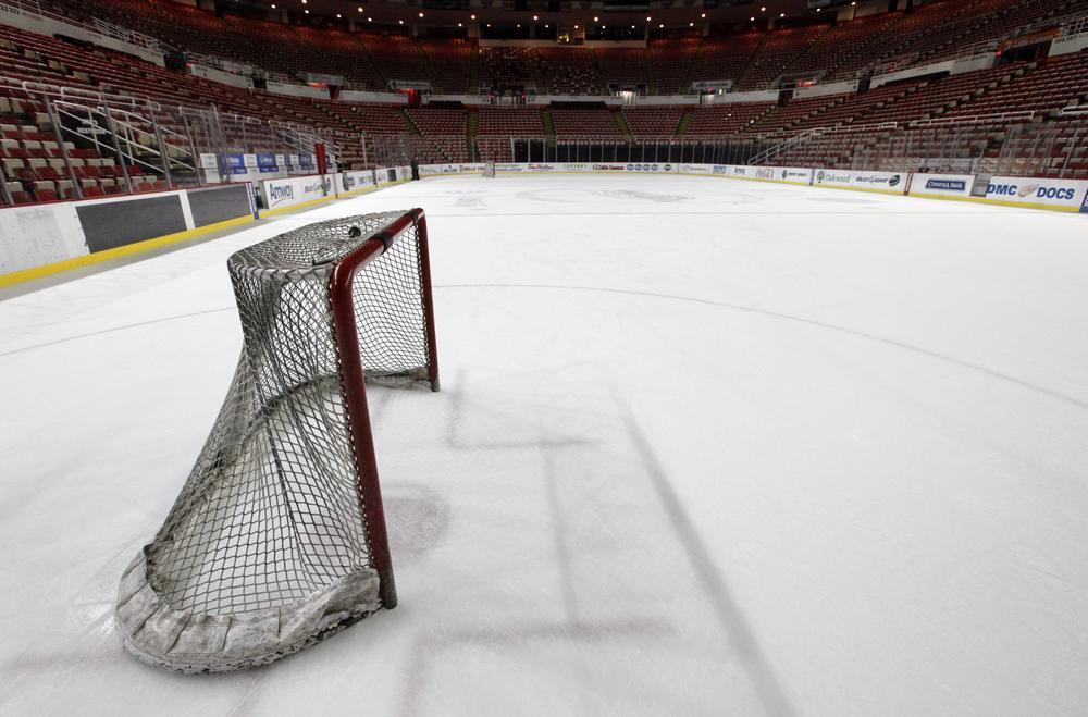 The goal sits on the ice at Joe Louis Arena home of the Detroit Red Wings. (AP/Paul Sancya)