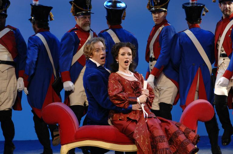 "Tenor John Tessier as Count Almaviva and Soprano Sarah Coburn as Rosina in Boston Lyric Opera's 2012 production of ""The Barber of Seville."" (Eric Antoniou/Boston Lyric Opera)"