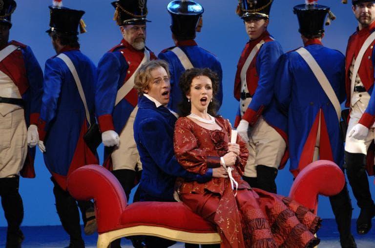 "Tenor John Tessier as Count Almaviva and Soprano Sarah Coburn as Rosina in Boston Lyric Opera's 2012 production of ""The Barber of Seville."" (Eric Antoniou/Boston Lyric Opera)"