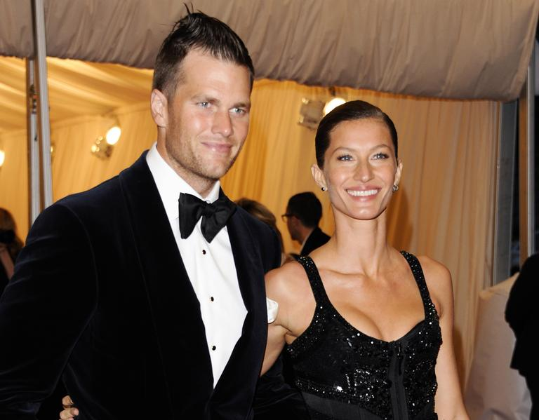 Tom Brady with his wife, Gisele Bundchen, at the Metropolitan Museum of Art Costume Institute gala benefit in New York in 2012. (Evan Agostini/AP)