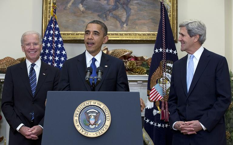 President Obama announces his nomination of Sen. John Kerry, D-Mass., right, as next secretary of state at the White House, on, Dec. 21, 2012. (Carolyn Kaster/AP)