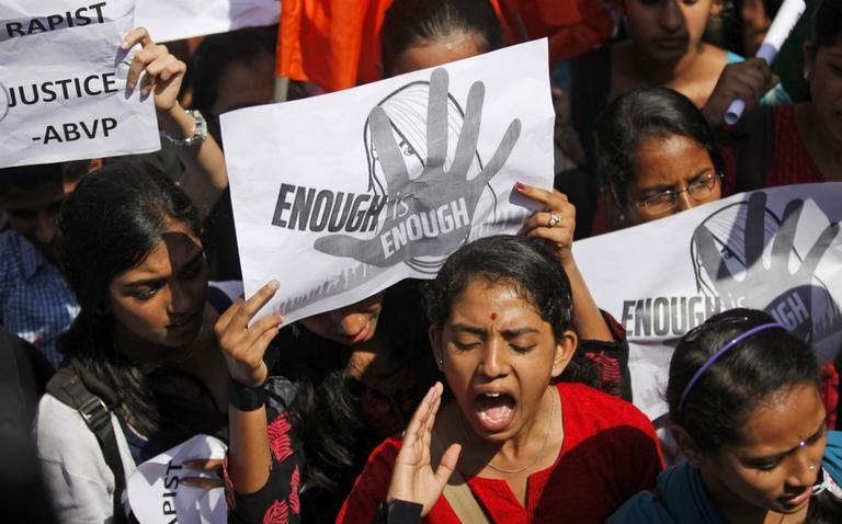 An Indian student shouts slogans seeking punishment for rapists of the 23-year-old student, during a protest in Bangalore, India, Friday, Jan. 4, 2013. A group of men accused of raping a university student for hours on a bus as it drove through India's capital were charged Thursday with murder, rape and other crimes that could bring them the death penalty. (Aijaz Rahi/AP)