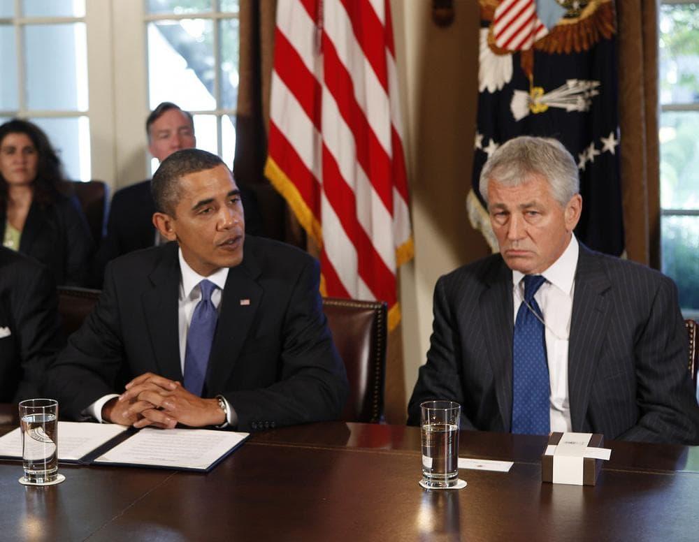 President Barack Obama and former Nebraska Sen. Chuck Hagel in the Cabinet Room of the White House in Washington, Wednesday, Oct. 28, 2009. (Gerald Herbert/AP)