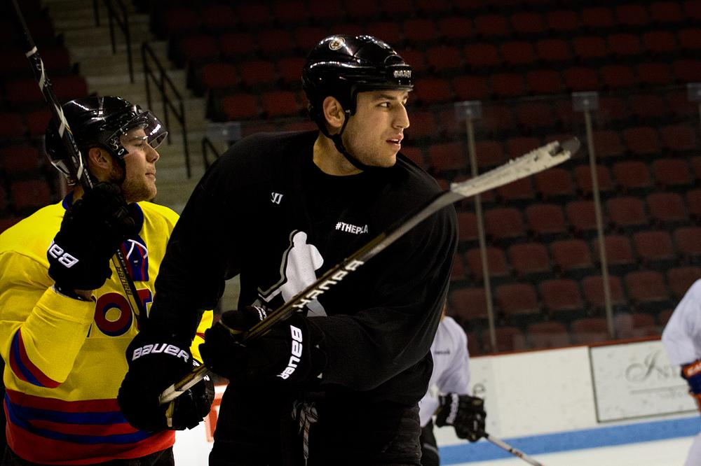 Bruins Tyler Seguin, left, and Milan Lucic during Monday's skate (Jesse Costa/WBUR)