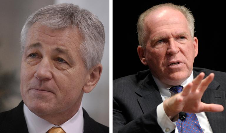 On left, outgoing U.S. Sen. Chuck Hagel is pictured in December, 2008. (Dave Weaver/AP). On right, John Brennan, Assistant to the President for Homeland Security and Counterterrorism, is pictured in September 2011. (Susan Walsh/AP)