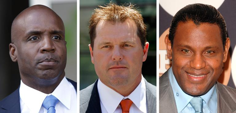 In file photos, from left: Barry Bonds, Roger Clemens and Sammy Sosa, all former baseball players who have been accused of using performance-enhancing drugs and are on the hall of fame ballot. (AP)