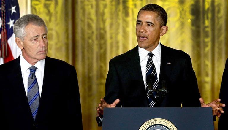 President Obama announces that former Nebraska Sen. Chuck Hagel is his nominee for secretary of defense in the White House Monday. (Charles Dharapak/AP)