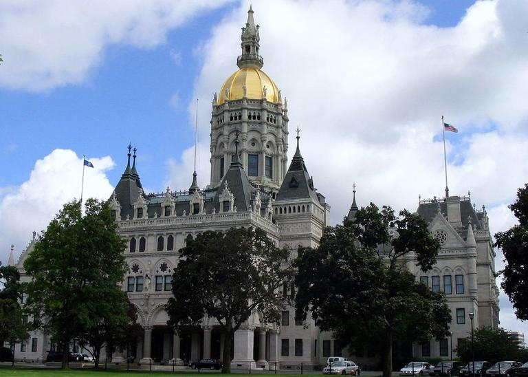 State lawmakers in Connecticut begin their new legislative session on Wednesday at the Connecticut State Capitol, pictured here in 2005. (Wikimedia Commons)