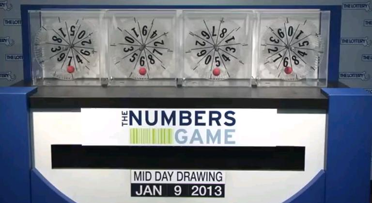 Screenshot of the Midday Nubmers Game Drawing for the Massachusetts State Lottery for Wednesday, Jan. 9, 2013. (MassStateLottery/YouTube)